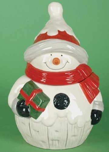 ... Snow Drift Red and White Jolly Snowman with Gift Christmas Cookie Jar