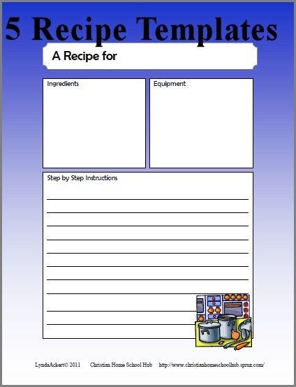 ... Writing Templates : Recipes - recipe cards and organization