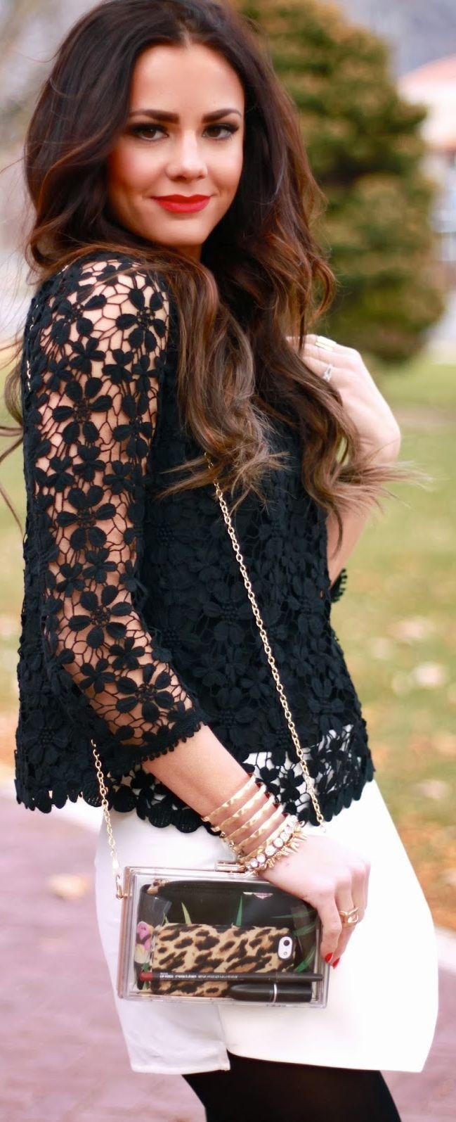 Black mini lace shirt with white mini skirt