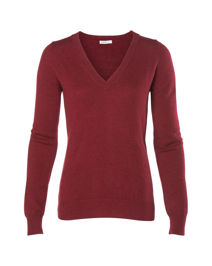 "Fitted v-neck sweater. Available in burgundy, heather grey, navy, mustard yellow and winter orange. 100% Cashmere. Center Front Length: 24.5"" Center Back Length: 24.5"" Chest: 17"" Measurements based on size 2"
