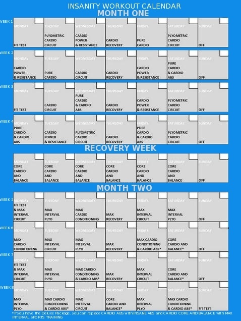 Insanity Workout Calendar on Exercise Workout Review. This calendar ...