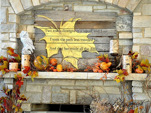 DIY Fall Mantel with pallet wood sign by Serendipity Refined
