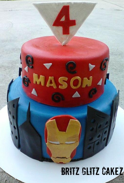 this cake I made as a gift for a sweet boy battling leukemia! Ironman!