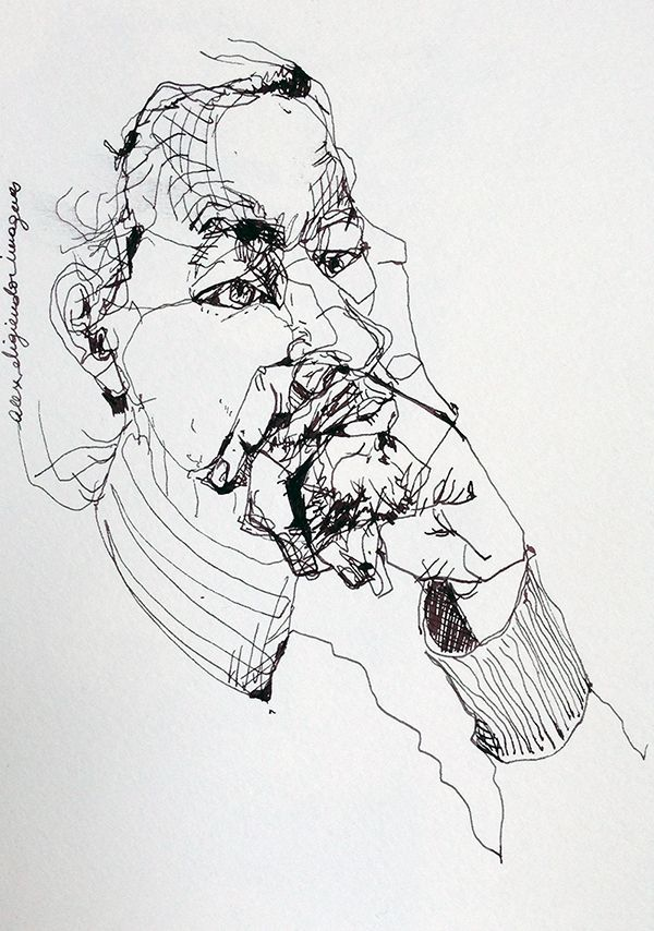 Continuous Line Art : Images about continuous contour line portraits on