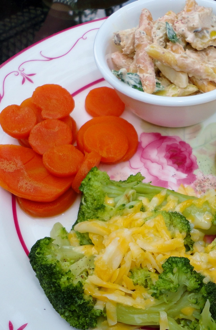 ... goat cheese pasta salad, broccoli with cheese, copper penny carrots