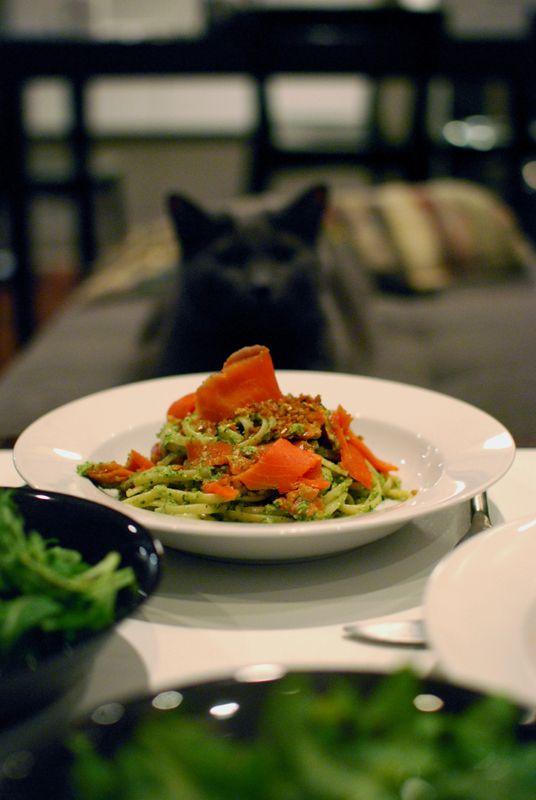 ... with smoked salmon and pepita-cilantro pesto. Even the kitty likes it