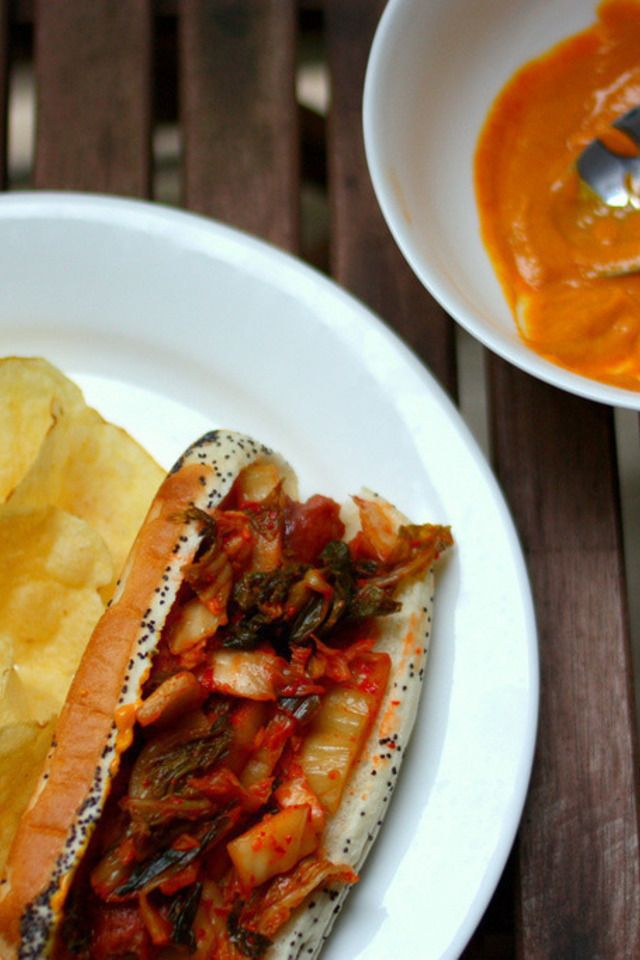 dogs corn dogs hot dogs with kimchi relish steamy kitchen recipes hot ...