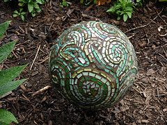 Bowling ball mosaic. Who just called me a nut for having bowling balls around the garden when you were kids?
