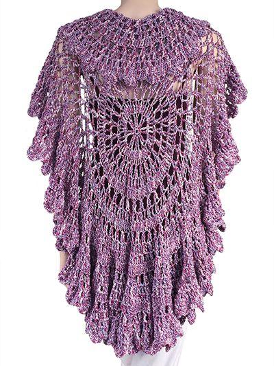 Crochet Pattern Half Circle Shawl : Babette Circle Shawl Pattern Crochet v?tements adulte ...