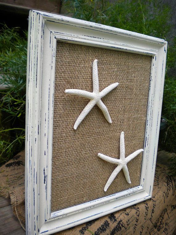 Cottage Chic Framed Starfish Beach Wall Art Coastal Decor Beach Cot