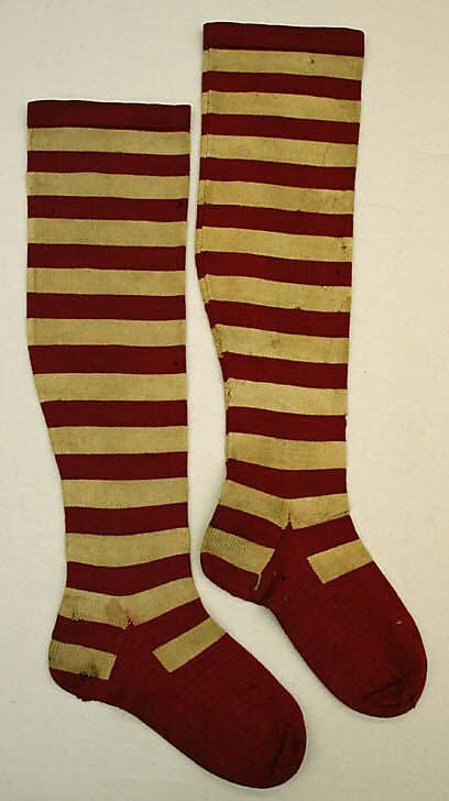 Stockings  Date: ca. 1850 Culture: American- WHOOT! Striped stockings! Love them!!