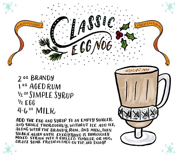 Friday Happy Hour: Classic Egg Nog Cocktail Recipe Card, Illustration ...