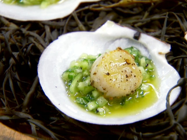 Pan-Grilled Scallops on Green Gazpacho from CookingChannelTV.com Chuck ...