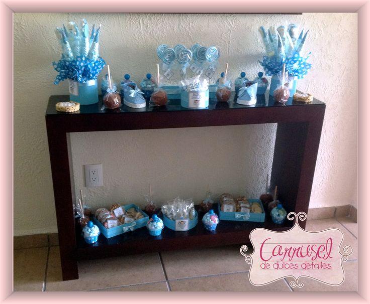 Pin by carrusel de dulces detalles on baby shower ni o for Mesa de dulces para baby shower nino