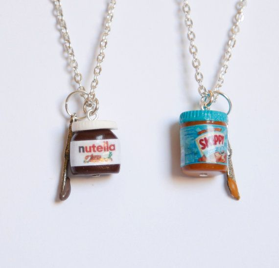 Bff nutella and peanut butter inspired two necklaces - Bff geschenke ...