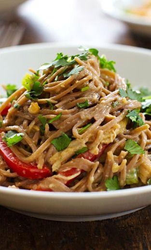 Spicy Peanut Chicken Soba Noodle Salad | Recipe