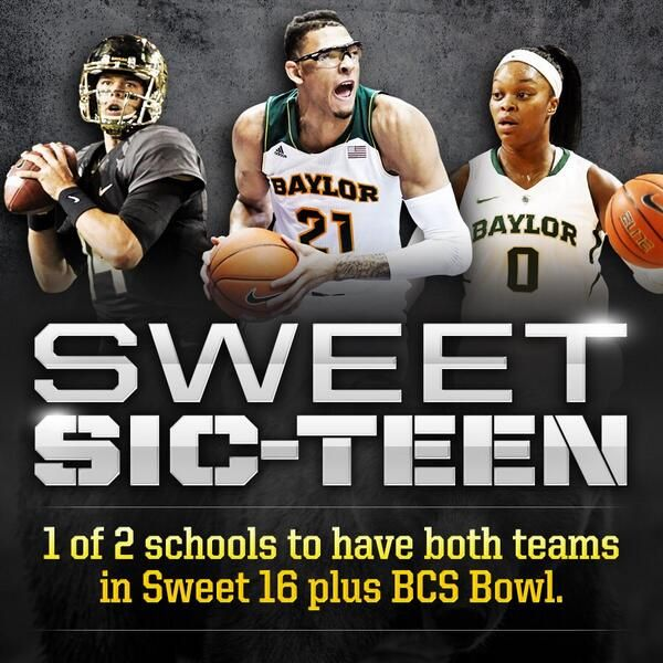 Only 2 schools nationwide have both teams in the Sweet 16 and made a BCS bowl: Stanford and #Baylor. // #SicEm