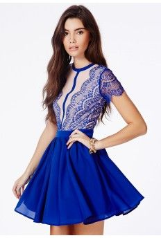 Arjean Cobalt Blue Eyelash Lace Puff Ball Dress - so pretty!