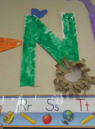 Preschool letter n nest preschool craft ideas pinterest for Letter n decorations