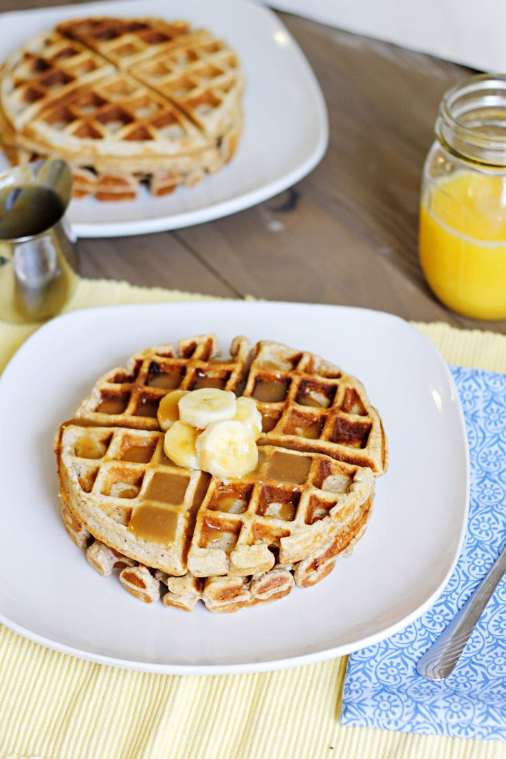 Banana Waffles with Peanut Butter Maple Syrup - Fabtastic Eats