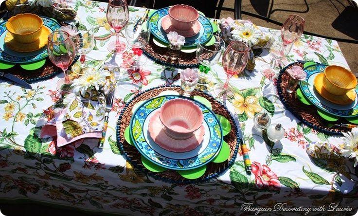 summer tablescape Flower Power #hometalkeveryday