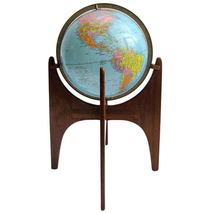 Adrian Pearsall Stand With Vintage Replogle Illuminated Globe