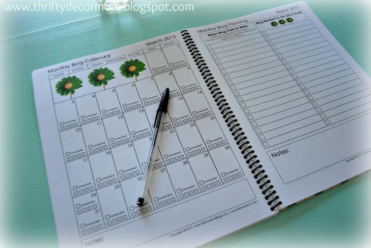 Monthly Calendar & Blog Post Idea List | Bloggy | Pinterest