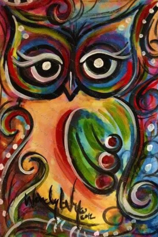 Beautiful owl painting owls pinterest for Pretty abstract paintings