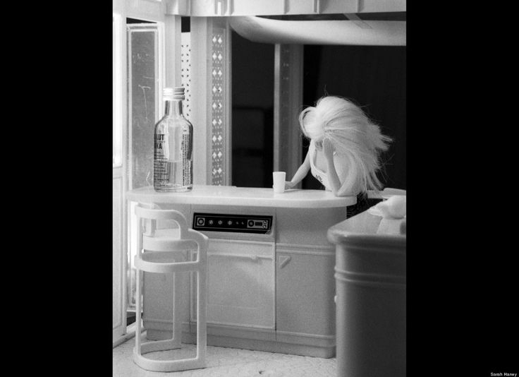 barbie drinking alone. heh.