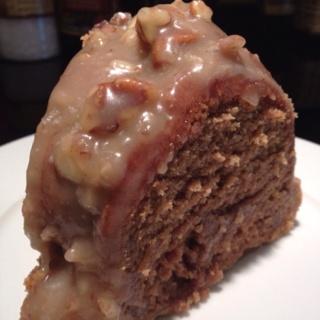 pumpkin nutella pound cake with maple pecan glaze