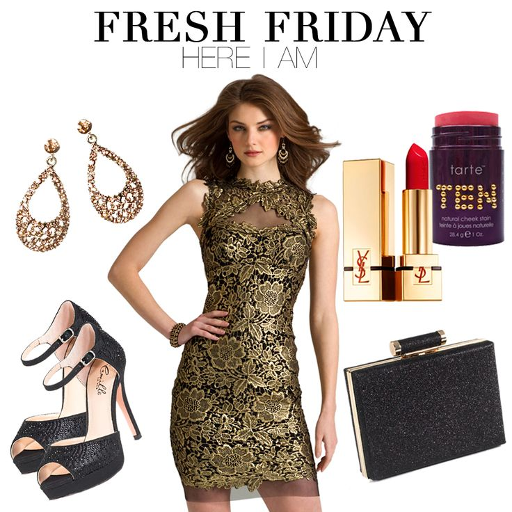 Get the FRESH FRIDAY fashion look:  (dress) http://bit.ly/1yy4y0N (shoes) http://bit.ly/1u7aMSL (bag) http://bit.ly/1rRYRXJ (earrings) http://bit.ly/1m5OfRe