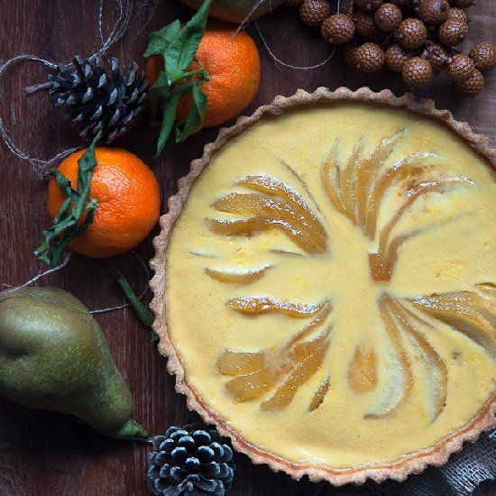 Caramelized pear and orange custard tart with rosemary crust