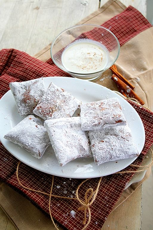 Pumpkin Bourbon French Beignets with Eggnog Creme Anglaise