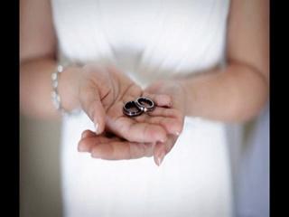 Ladies Black Titanium with 18K White Gold & Floating Diamond Ring AND Mens Black Titanium with 18K White Gold Wedding Band #TitaniumJewelry