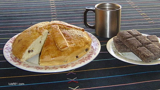 Guatemalan traditional Bday breakfast: sweet bread and hot chocolate