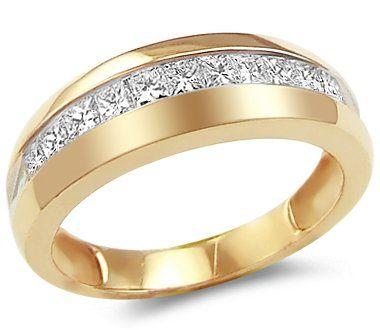 Wedding Ring Rash Princess Men Diamond Wedding Ring 14k Yellow Gold Band Carat