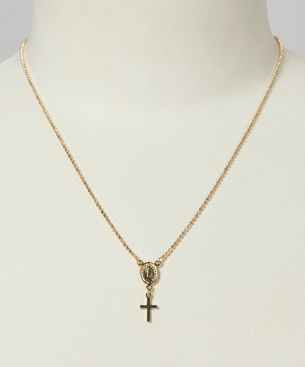 gold miraculous medal scapular necklace