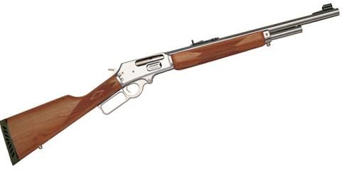 """Marlin 1985 GS   The Marlin 1985GS is a lever-action .45/70 carbine that can take on any kind of game and any kind of weather. This stainless steel 4 shot has an 18½-inch barrel with an overall length of just 37 inches. It weighs 7 pounds, and the average retail price is about $660. This is big game-dropping power in a short, weatherproof gun; and it's got """"survival in bear country"""" written all over it."""