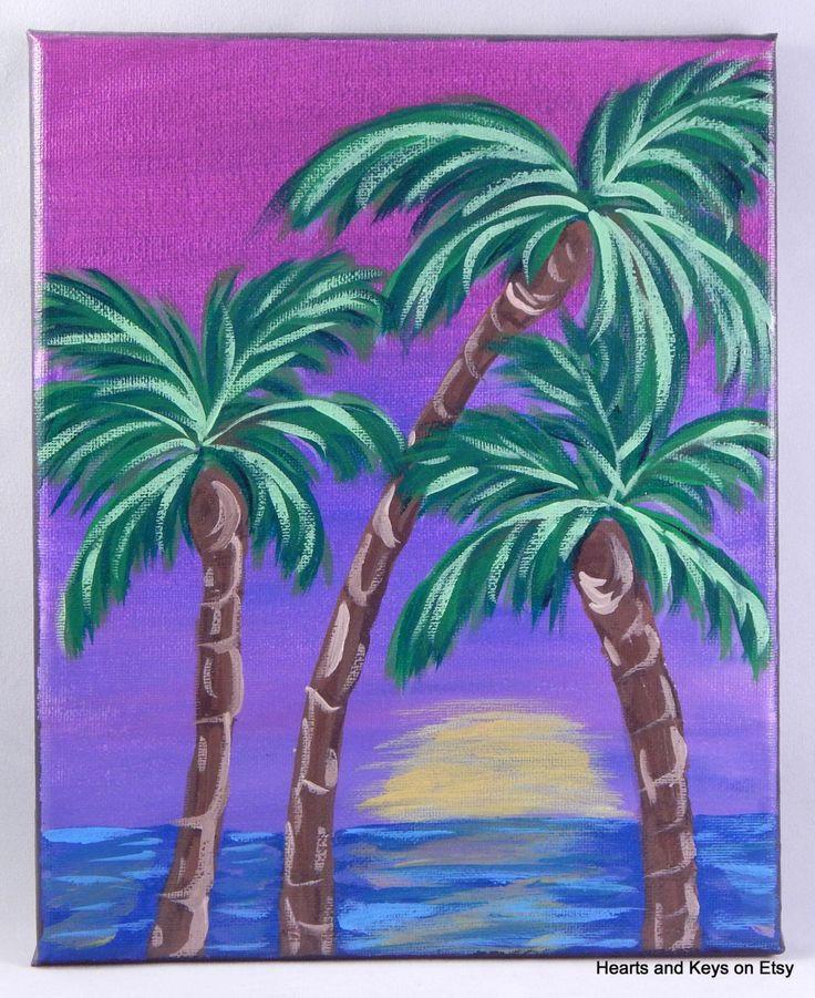 The gallery for palm trees painting for Painting palm trees