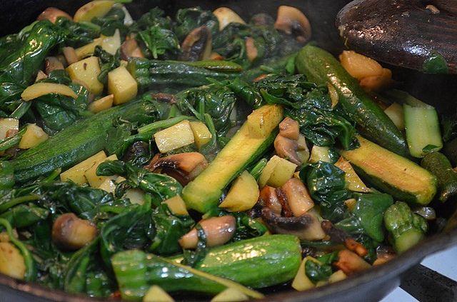Sautéed Spinach, Baby Zucchini and Mushrooms, dinner tonight!
