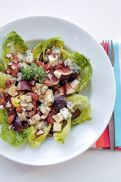 Figs & Blue Cheese Salad: Ingredients for 1: 2 Figs 2 gems lettuce ...