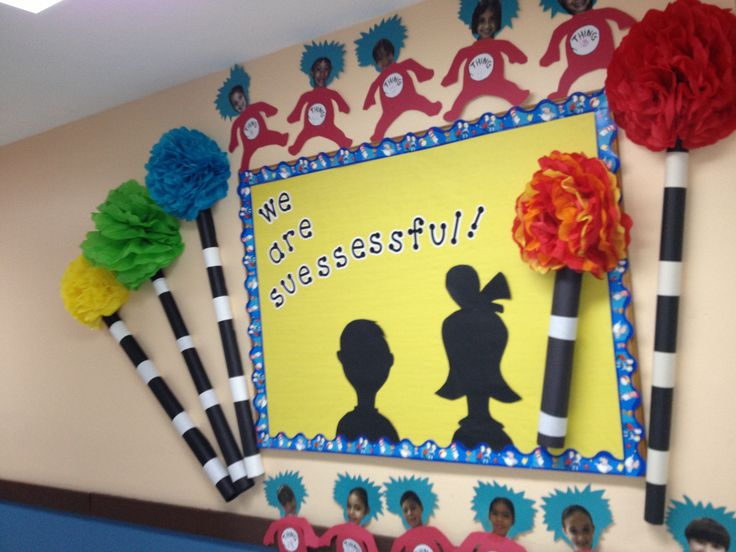 Dr. Seuss bulletin board: march is reading month, love this idea with ...