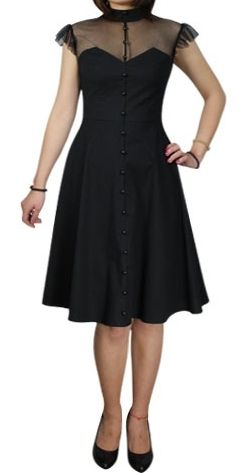40s Vintage Black Mesh Top Sweet Heart Dress - of course i find a