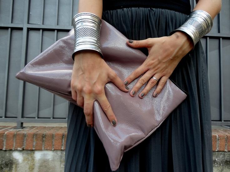kcomekarolina: sometimes it's all grey, maxi clutch, silver cuffs