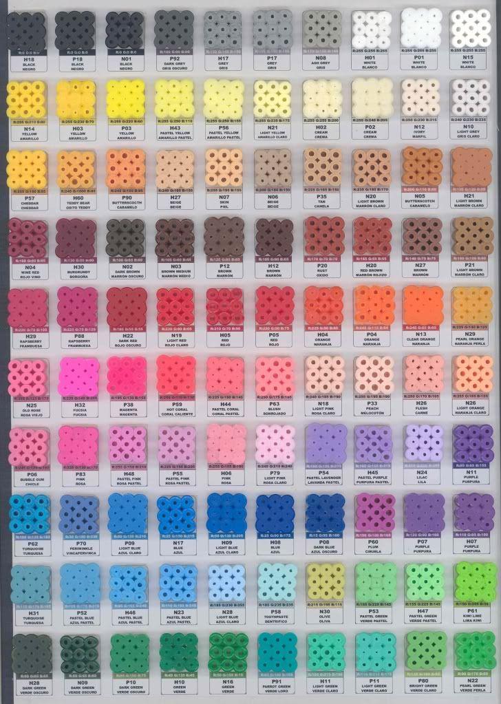 Perler Bead Color Chart