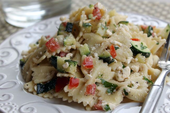 Pasta Salad with Tomatoes, Zucchini, and Feta has lots of fresh ...