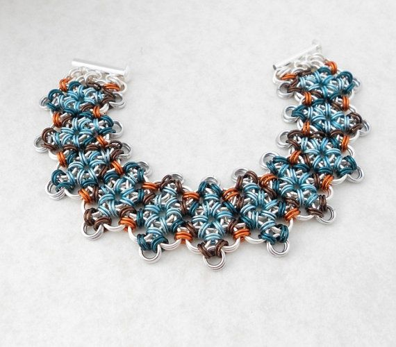 Wide Chainmaille Bracelet, Japanese Lace, Argyle pattern with dark turquoise and light blue by byawire, $159.00