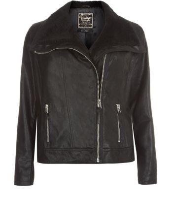 Inspire Black Leather Aviator Jacket
