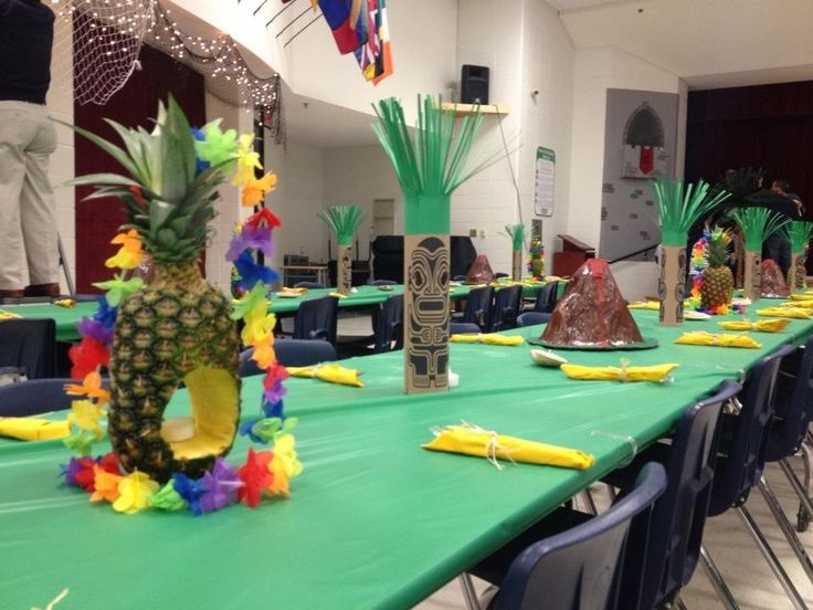 Ideas | Decorations for Blue & Gold Banquet luau theme. #luau #