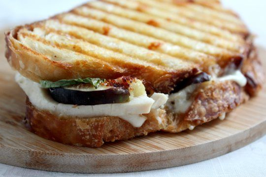 Chicken, goat cheese, and fig panini